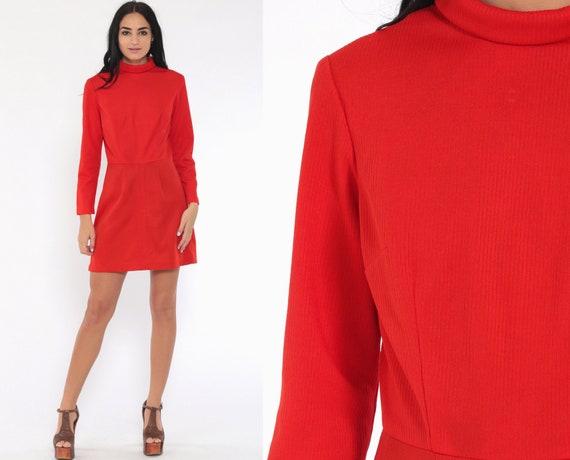 60s Mod Turtleneck Dress Red Mod Mini High Waisted Vintage 70s Plain High Neck Long Sleeve 1970s Twiggy Gogo Small