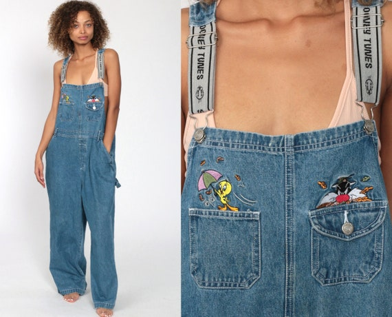 Looney Tunes Denim Overall Jean Sylvester The Cat Tweety Bird Kawaii 90s Warner Bros Bib Grunge Jean Suspender 1990s Vintage Medium Large
