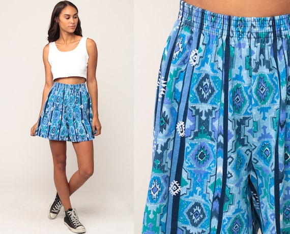 Southwestern Shorts Aztec Shorts 90s High Waisted Jogging Running Tribal Southwest 90s Blue Striped Vintage Hipster Baggy Small Medium