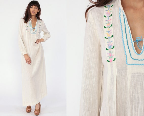 Cotton Gauze Dress 70s Boho Caftan Ethnic Floral Embroidery Sheer Maxi Column Dress Bohemian Hippie 1970s Retro Vintage Festival Small