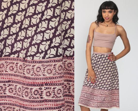 Boho Skirt Hippie Indian Skirt Midi Ethnic Wrap Cotton Bohemian Batik Floral Print High Waist Vintage Purple Red Small Medium xs
