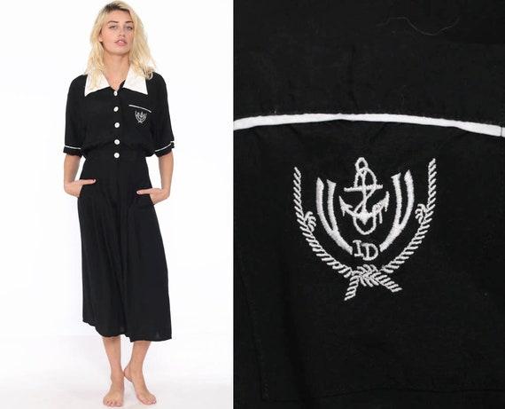 Wide Leg Jumpsuit Black ANCHOR Print 80s CROPPED Capri Boho Baggy Palazzo Pantsuit Nautical Sailor Vintage Romper Pants 90s Extra Small xs