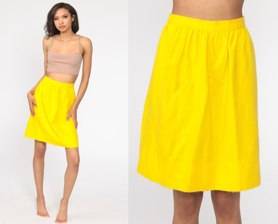Bright Yellow Skirt Mini Skirt 60s Skirt High Waisted 70s Preppy Vintage 1960s Extra Small xs