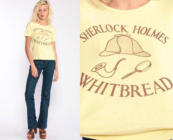 Sherlock Holmes Shirt Whitbread Pub Graphic Tee Shirt Bar Shirt Vintage 80s Tshirt Hipster Drinking T Shirt Screen Print Extra Small xs