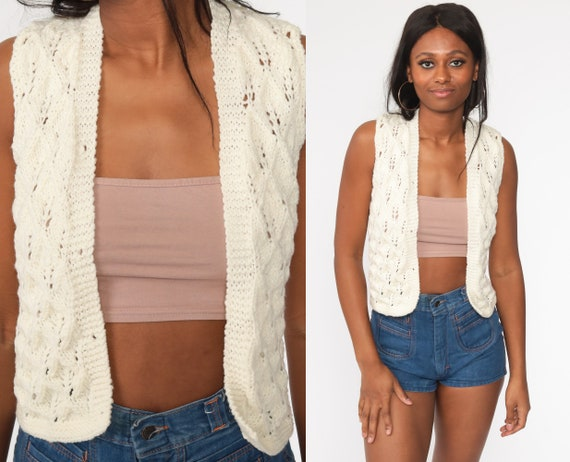 Crochet Vest Cream Knit Top 70s Hippie Boho Vest Open Weave Sheer 1970s Vintage Bohemian Sleeveless Sweater Extra Small xs