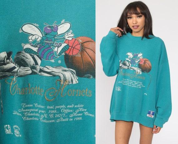 Charlotte Hornets Shirt 90s NBA Sweatshirt Graphic Basketball Retro North Carolina Sports Pullover Nutmeg Mills 1990s Vintage Extra Large xl