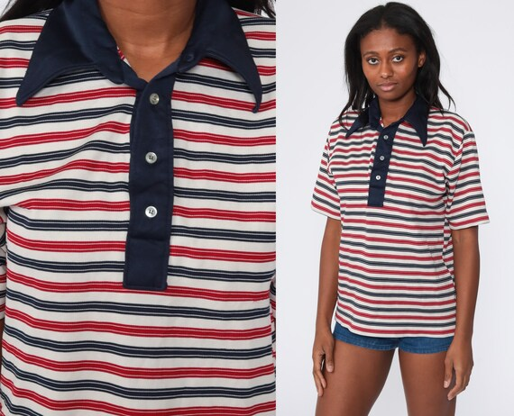Striped Polo Shirt 70s Shirt Navy Blue Red White Half Button Up Shirt Polo Shirt Collared 1970s Stripes Nerd Retro Vintage Medium Large