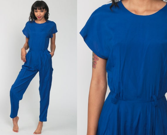 80s Jumpsuit Royal Blue Button Back Playsuit Tapered Pant Plain Jumpsuit High Waisted 1980s Vintage Pantsuit Cap Sleeve Extra Small xs