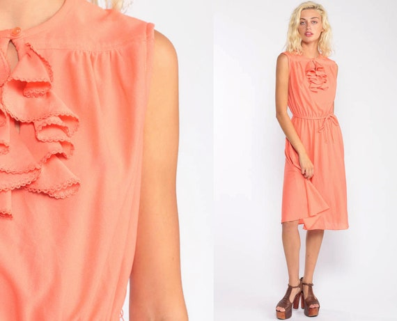 Orange Dress 70s Boho Midi Tuxedo Ruffle Dress High Waist Dress Keyhole 1970s Party Sleeveless Grecian Dress Bohemian Medium Large