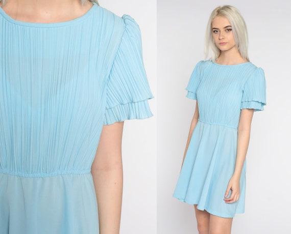 80s Puff Sleeve Dress Baby Blue Semi-Sheer Mini Secretary Dress Puffy High Waisted Pleated 1980s Retro Vintage Minidress Small Medium