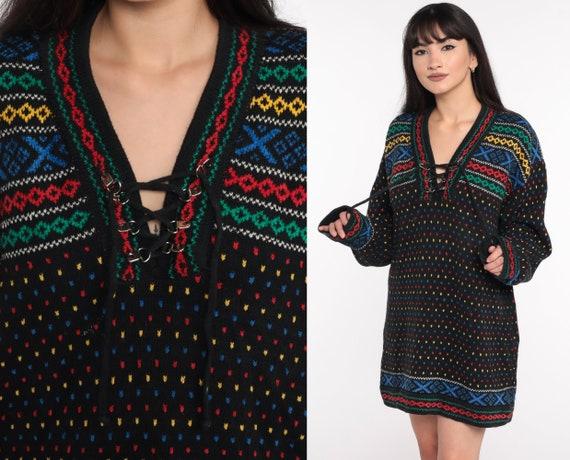 Fair Isle Sweater 90s Black Lizwear Sweater Lace Up Pullover Sweater Fair Isle GEOMETRIC PRINT Statement Knit 1990s Vintage Large L