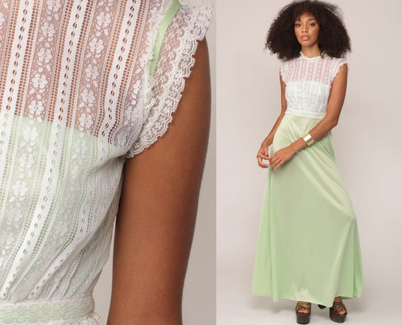 Lace Party Dress Bohemian Dress 70s Maxi Boho Mint Green Illusion Neckline Formal Prom 1970s High Waist Long Vintage Retro Extra Small xs