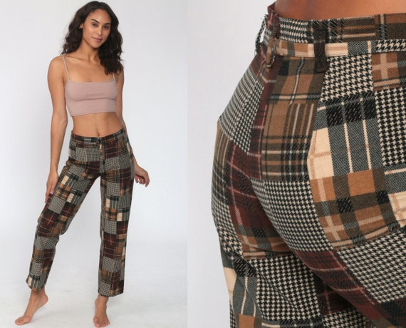 Y2K Plaid Pants High Waisted Tapered Pants 00s Brown Trousers Cotton Trousers Tan Mid Rise Straight Leg Vintage Retro Bottoms Small
