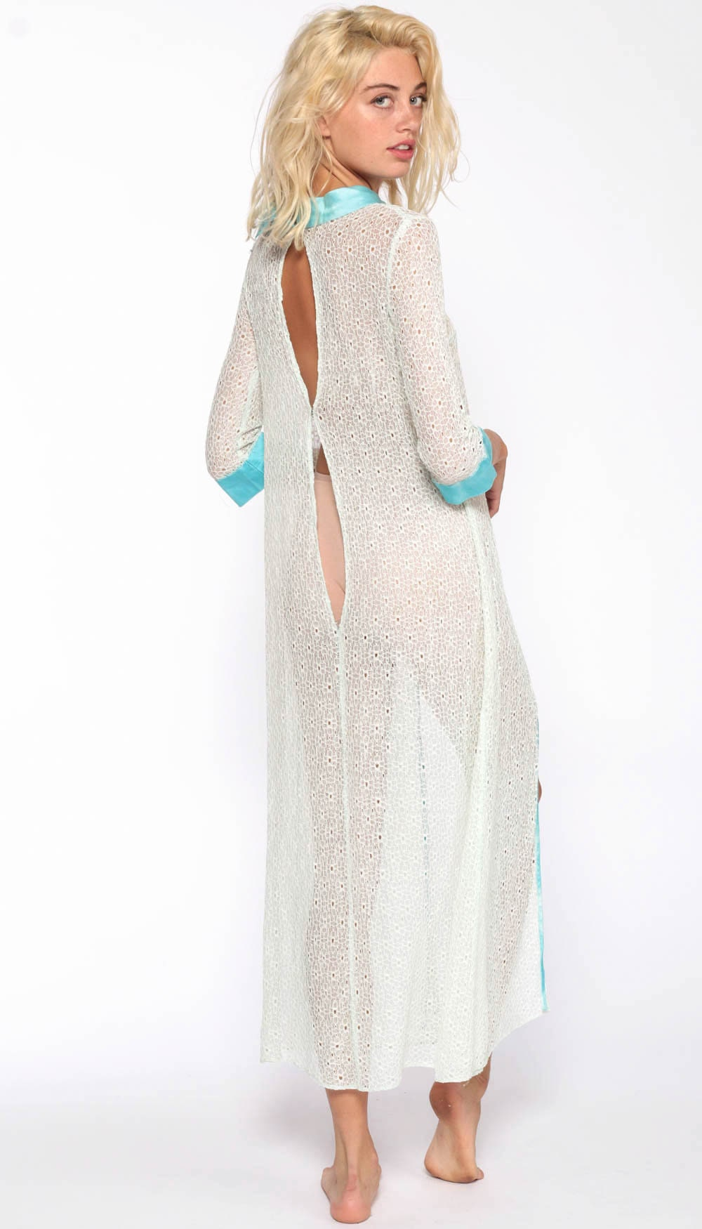 Lace Nightgown Lingerie Dress 70s Maxi White Blue Open Front Robe High Slit Boho Sheer Nightie Vintage Bohemian Extra Small xs