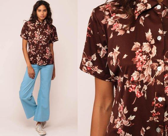 70s Button Up Shirt BERRY Blouse Leaf Print Graphic Boho 1970s Top Short Sleeve Shirt Brown Vintage Retro Bohemian Large