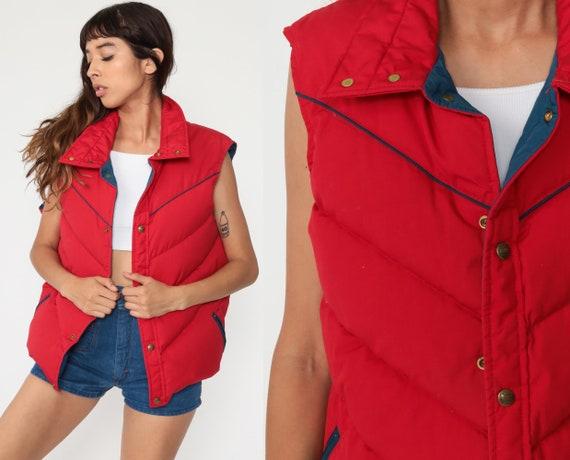 Down Woolrich Vest Red Winter Vest Sleeveless Jacket Puffer Vest 70s Vest Puffy Retro Ski Vest Snap Up Vintage 1970s Extra Large xl l