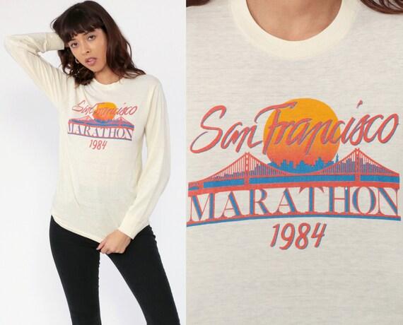 San Francisco Shirt 1984 MARATHON T Shirt Long Sleeve Gym 80s Golden Gate Bridge Burnout T Shirt Long Sleeve Vintage 1980s Extra Small xs