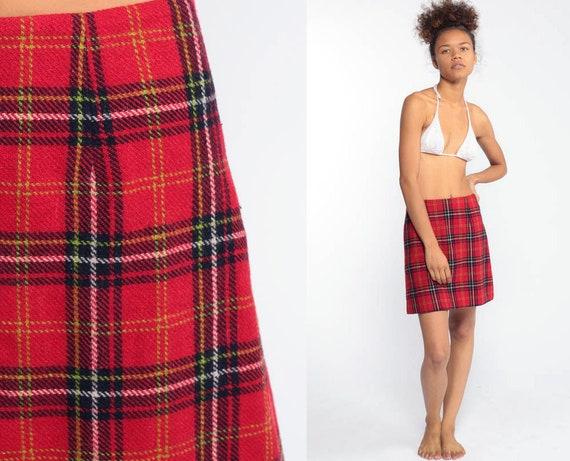 Plaid Mini Skirt School Girl Skirt WOOL A-Line Tartan High Waisted 90s Red Black Preppy Checkered Retro Vintage Lolita 90s Extra Small XXS