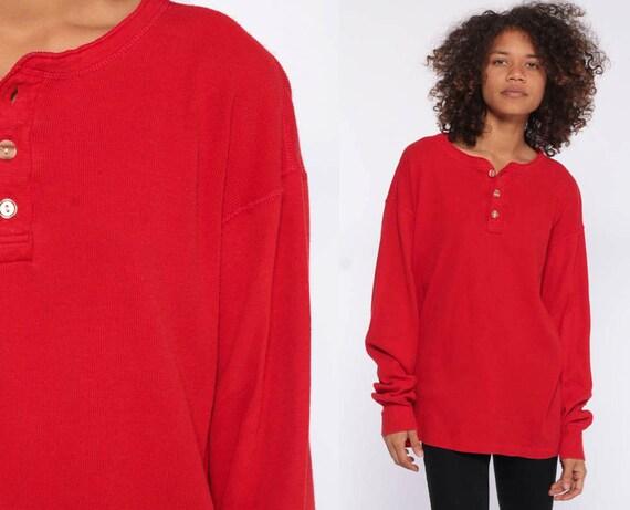 90s Long Sleeve Shirt -- Red Henley T Shirt 90s Grunge Thermal Under Shirt Oversized Long Sleeve Thermal Layering Shirt Medium Large