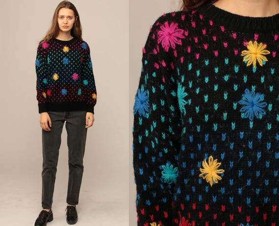 Floral Sweater 80s Boho EMBROIDERED Graphic Print Knit Slouchy 1980s Pullover Black Blue Pink Vintage Hipster Jumper Kawaii Large