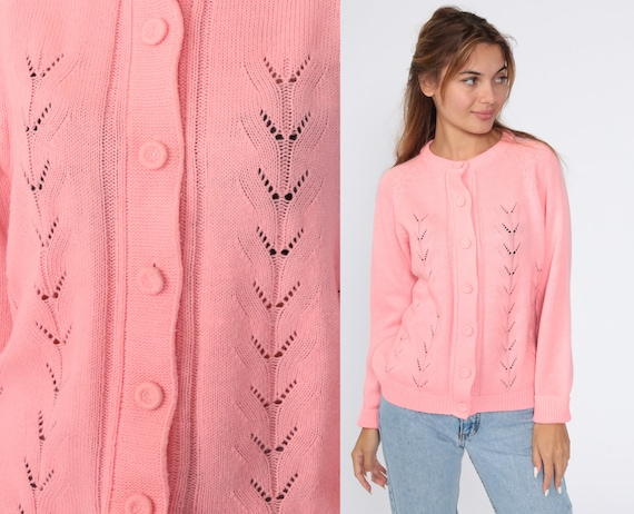 70s Pointelle Sweater Pink Cardigan Sweater Raglan Grandma Open Weave Sheer Pink Pastel Sweater Vintage Acrylic Knit 80s Medium Large