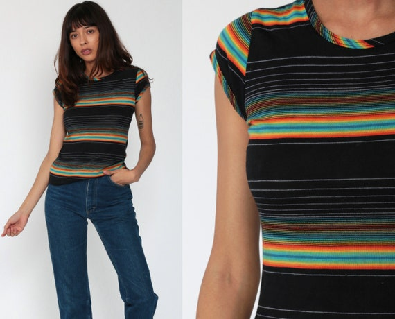 Rainbow Shirt 70s Cap Sleeve Blouse Black Rainbow Top Striped T Shirt Vintage 80s Tshirt Retro Tee 1970s Short Sleeve Small