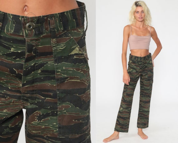 Army Pants Camo CARGO Pants 80s Military High Waisted Combat Olive Green Camouflage 1980s Vintage Punk Olive Drab Army Extra Small xs s