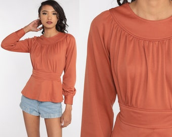 70s Peasant Shirt Terracotta Empire Waist Shirt Boho Top Brown Long sleeve Bohemian Hippie 1970s Vintage Shirt Small Medium