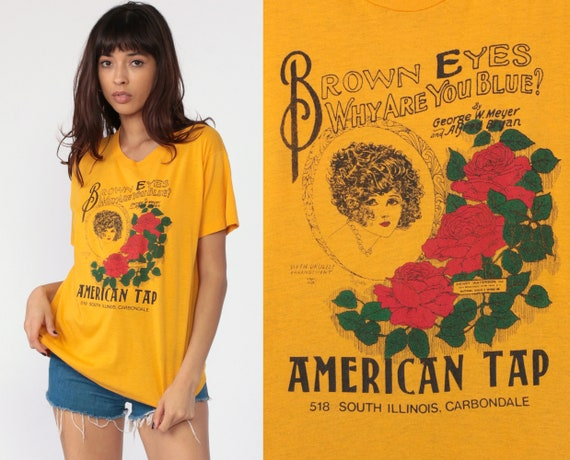 American Tap Bar Shirt 70s Carbondale Illinois Shirt Pinup Burnout T Shirt Graphic Tshirt 80s Paper Thin Vintage Drinking Yellow 1980s Large