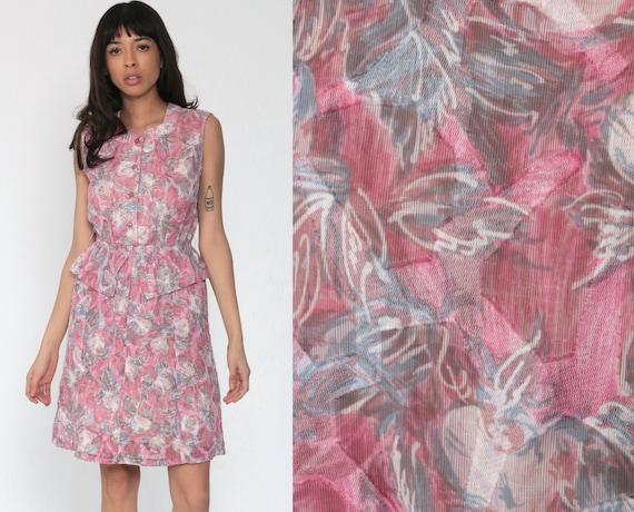 Pink Floral Dress 70s Mini Peplum Dress Secretary Bohemian Print Semi Sheer Sleeveless 1970s Vintage Slouchy Garden High Waisted Boho Small