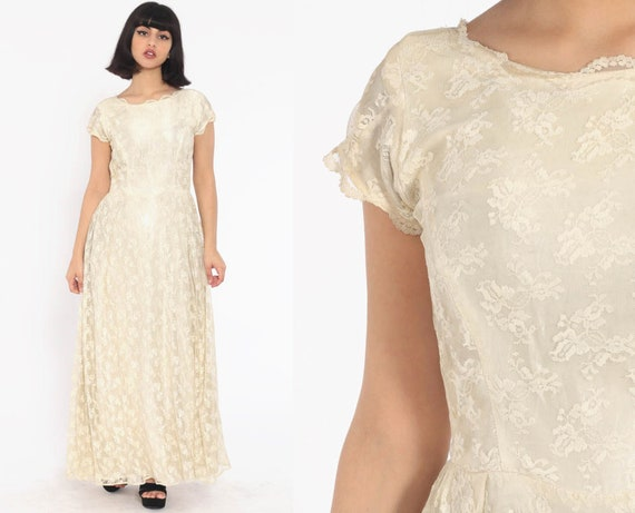 Long Lace Dress 60s Wedding Dress Cream Lace 70s Boho Maxi Party Vintage Hippie Cap Sleeve Scalloped V Back High Waisted Small