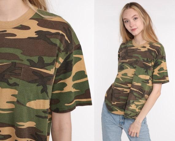 Camo Shirt Army TShirt CAMOUFLAGE Shirt 80s Ringer Green Hunting Military Ringer Tee Green Grunge 1980s Retro Tee Vintage Medium Large