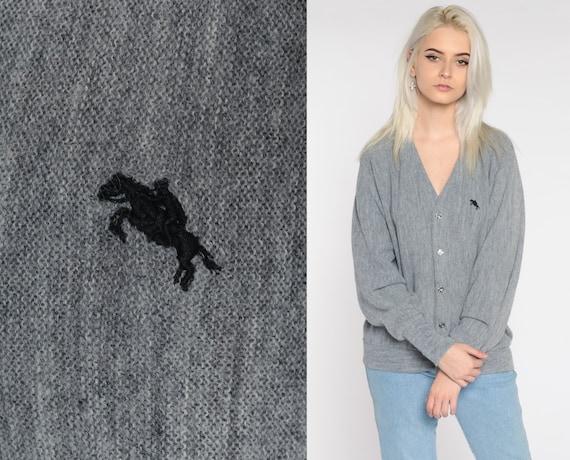 Grey Cardigan Sweater 80s Horse Button Up Sweater 1980s Grandpa Plain Slouchy Vintage Retro Jockey Medium Large