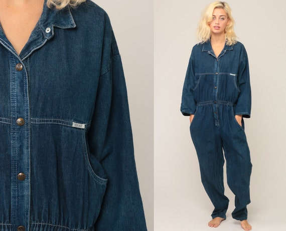 Denim Jumpsuit 80s Tapered Pants Jean Romper Pantsuit Vintage IDEAS Long Sleeve Onesie High Waisted Button Up Blue Overalls Extra Large xl