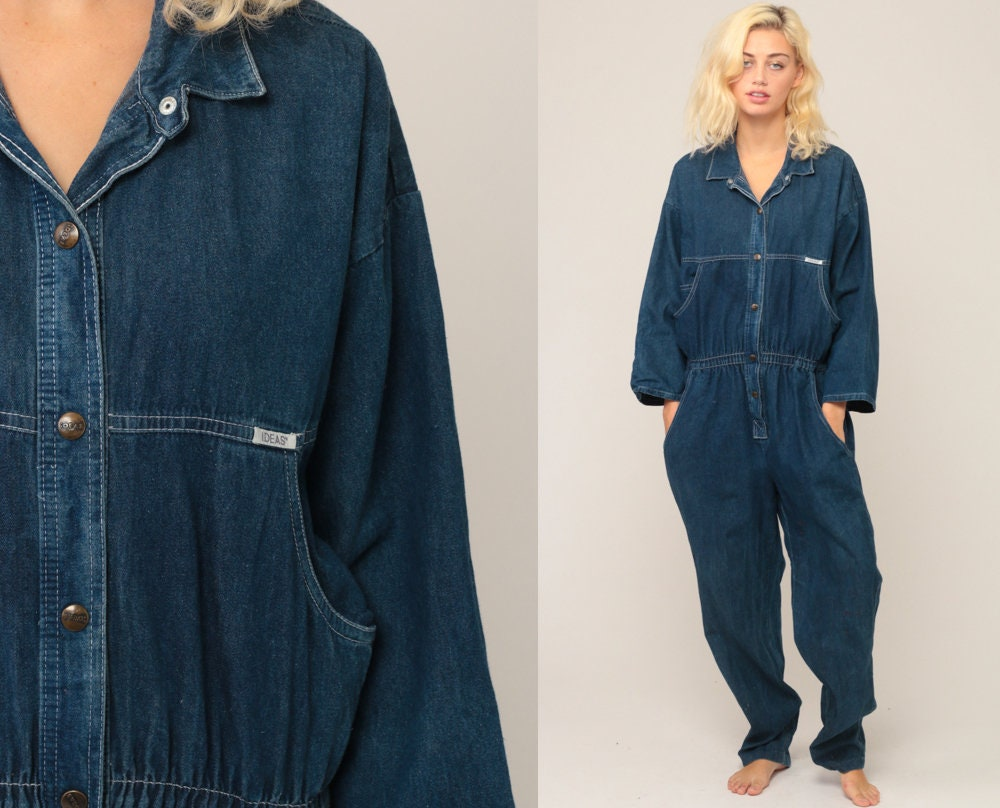 33ce0a435a94 Denim Jumpsuit 80s Tapered Pants Jean Romper Pantsuit Vintage ...