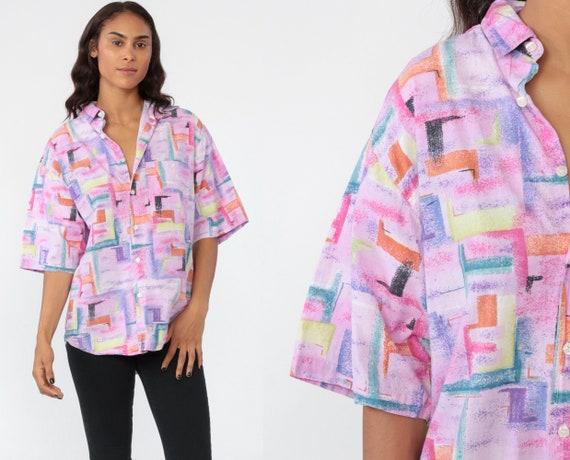 Button Up Shirt 80s Geometric Brushstroke Print Shirt Grunge Oversized Button Up Blouse Pink 1990s Vintage Short Sleeve Medium