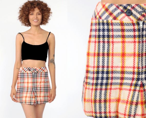 Plaid Mini Skirt School Girl Skirt Acrylic Tartan High Waisted 80s White Red Blue Preppy Checkered Retro Vintage Lolita 70s Extra Small XS