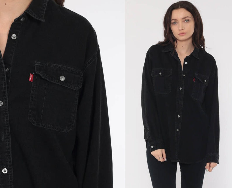 6482357f079 Levi s Jean Shirt 90s Denim Shirt Black Denim Jean