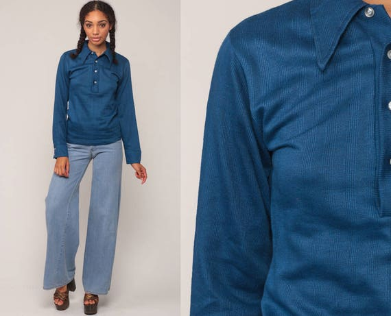 Long Sleeve Shirt 70s Shirt POLO Half Button Up 1970s Plain Shirt Vintage Hipster Blue Collared Small