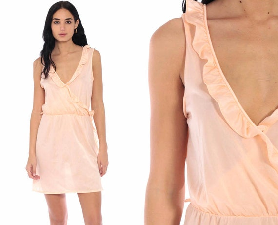70s Slip Dress Peach Ruffled Lingerie Nightgown Sleep Dress Pastel Babydoll Nylon Mini Bohemian 1970s Vintage Boho High Waist Small Medium