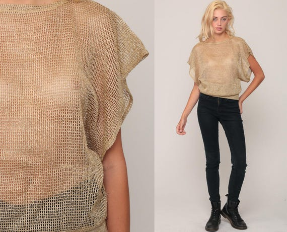 Sheer Sweater Top 80s Knit Shirt GOLD Blouse Metallic Boho Open Weave Short Sleeve 1980s Hipster Bohemian Slouchy Retro Vintage Small