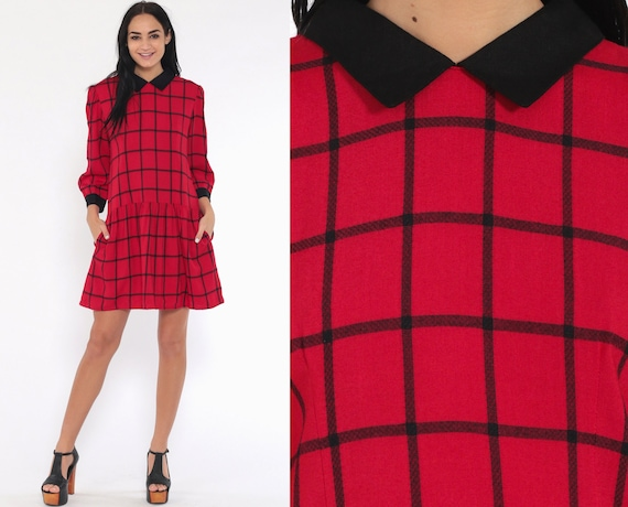 Red Plaid Dress 80s PETER PAN Collar Mini Puff Sleeve 1980s Drop Waist Checkered Black Preppy Vintage Long Sleeve Small