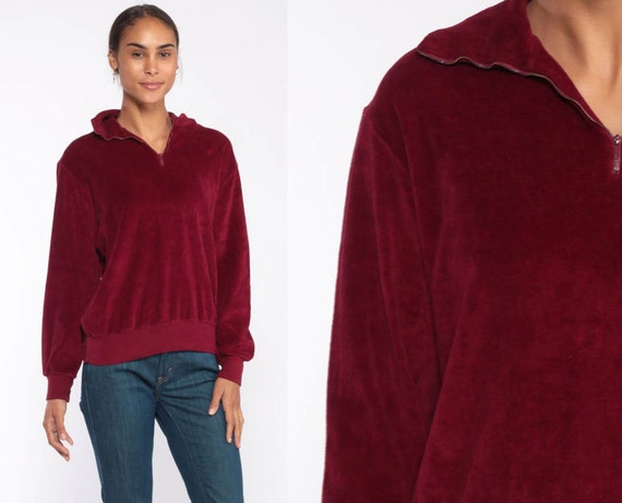 Burgundy Velour Shirt 80s Sweatshirt Slouchy Long Sleeve Grunge Sweater Retro Boho Pullover Jumper Zip Up Small Medium