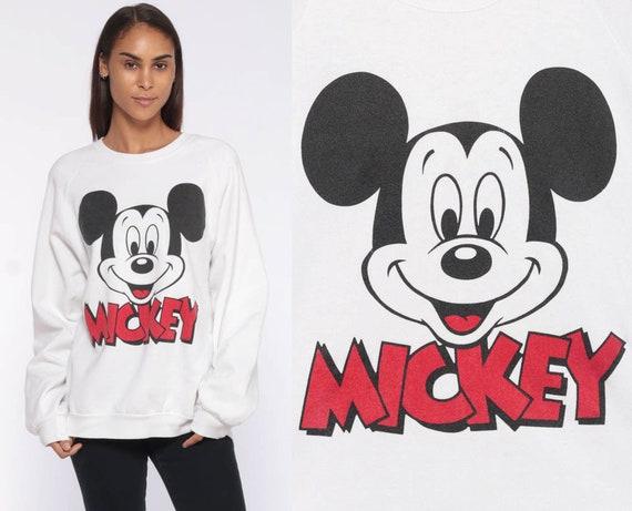 Disney Mickey Mouse Sweatshirt -- 90s Sweater Disneyland 80s Raglan Sleeve Grunge Shirt Cartoon White Crewneck Vintage Retro Medium Large