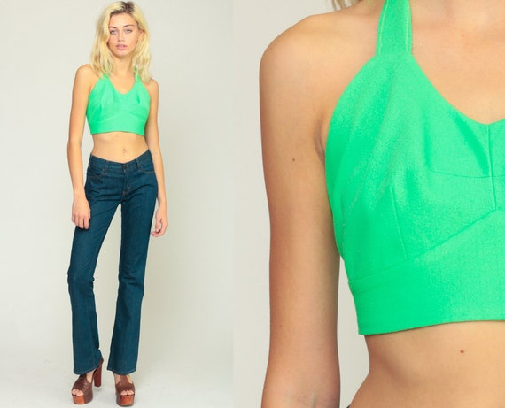 Halter Top Crop Top 70s Tank Top Neon Green Shirt CROPPED Shirt Backless Blouse 1970s Hippie Open Back Summer Extra Small xs