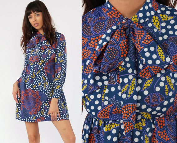 Floral Ascot Dress 70s Babydoll Polka Dot NECK TIE Mini Boho Hippie Mod Empire Waist Vintage Long Sleeve Psychedelic Acid Extra Small xs