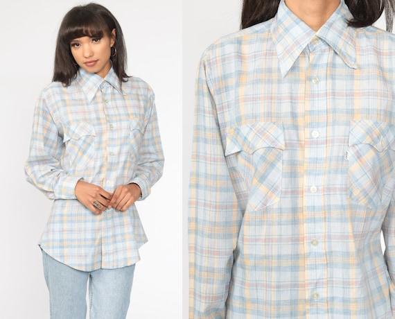 Levis Plaid Shirt Western Shirt 70s Plaid Shirt Button Up Levi Shirt Baby Blue Pastel Vintage Long Sleeve Shirt Medium Large