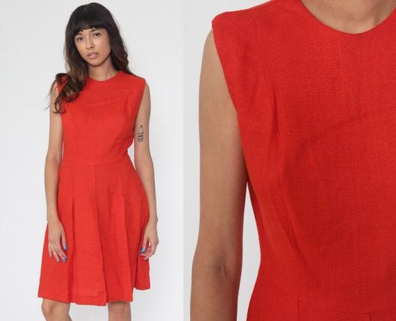 60s Dress Mod Orange Dress Pleated High Waisted Midi Fit and Flare Vintage Plain Sleeveless 1960s Skater Shift Small Medium