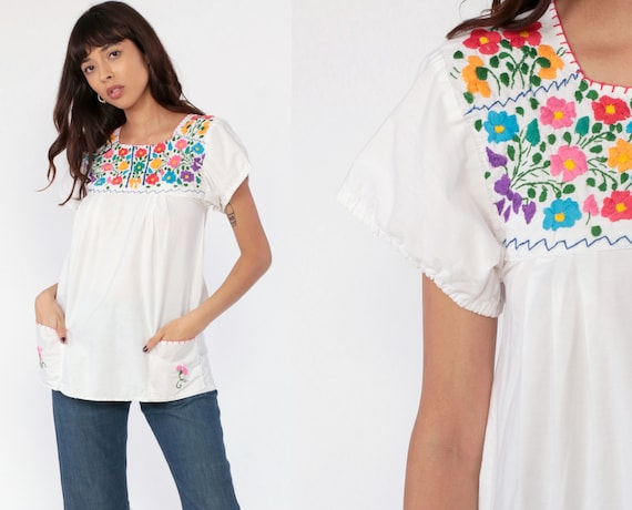 Mexican Blouse EMBROIDERED Top Hippie Boho Floral Embroidery Cotton Bohemian Floral Vintage Ethnic Tent Shirt Retro Pockets Extra Small xs