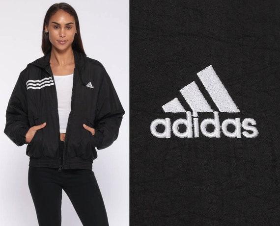 ADIDAS Hooded Jacket -- 90s Black Hood Coat Nylon Striped Hooded Sports Vintage 1990s Streetwear Sportswear Hoodie Stripes Medium